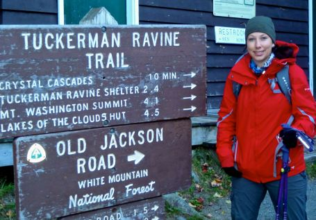 Pick up the trail right behind the Pinkham Notch Visitor Center.