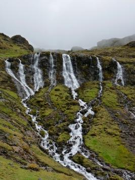 Waterfalls dot the landscape