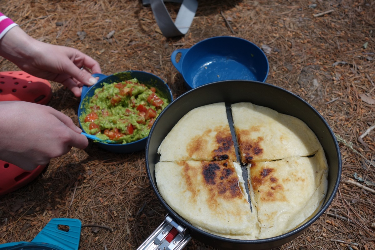 Backpacking Gourmet: Cheese Quesadillas with Trail-Made Guacamole