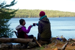 Sharing a glass of vino on David Lake, Killarney Provincial Park, Ontario